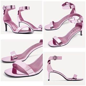 ZARA Pink Metallic Kitten Heel Sandals